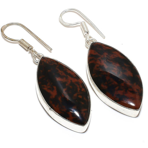Mahogany Obsidian Gemstone Ethnic Jewelry Earring 2.0 Inches RE138