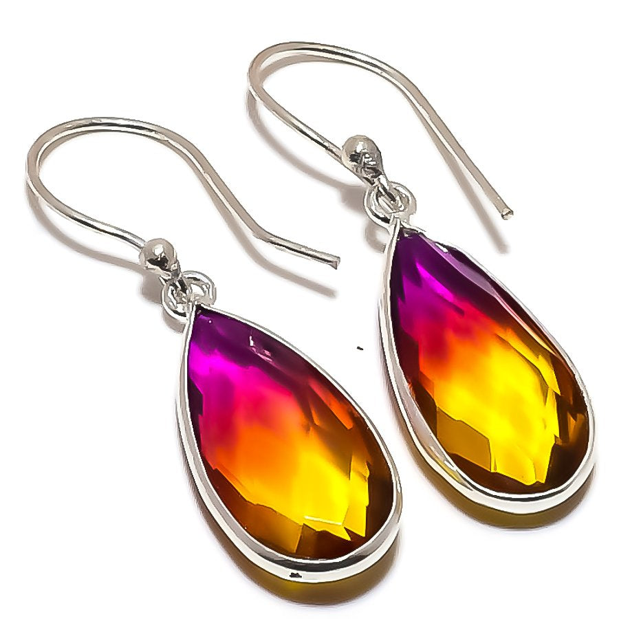 Bi-Color Tourmaline Gemstone Jewelry Earring 1.5 Inches RE1390