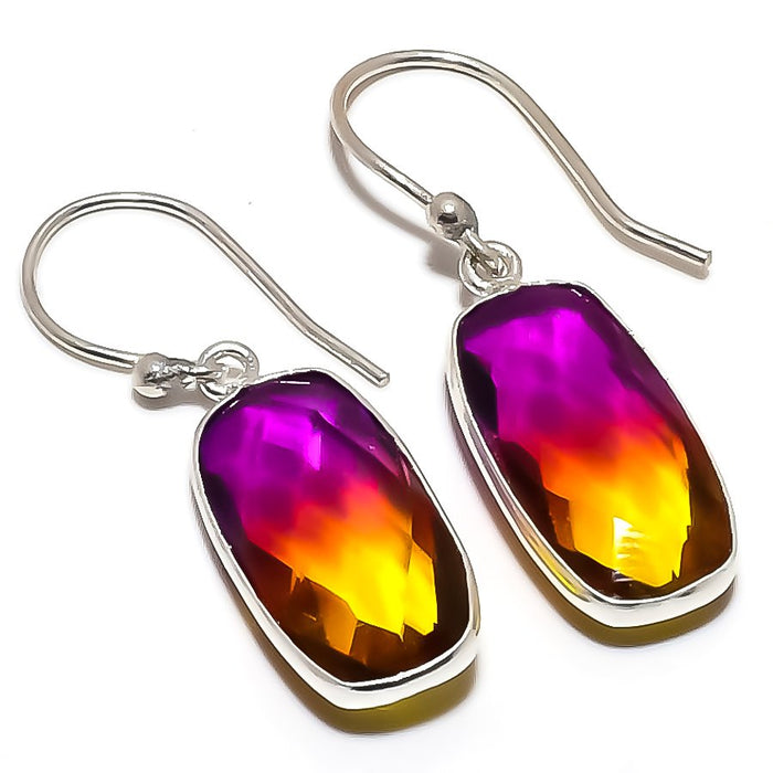 Bi-Color Tourmaline Gemstone Jewelry Earring 1.5 Inches RE1397