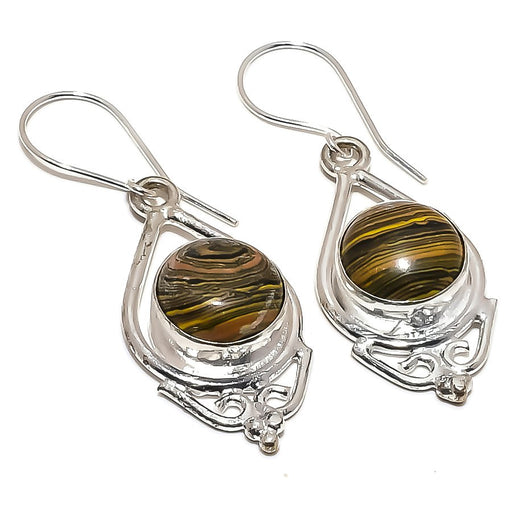 Tiger Calsilica Gemstone Ethnic Jewelry Earring 1.9 Inches RE1402