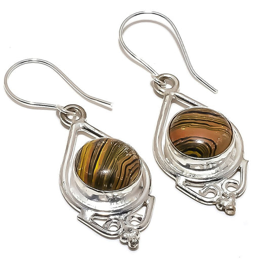 Tiger Calsilica Gemstone Ethnic Jewelry Earring 1.9 Inches RE1406