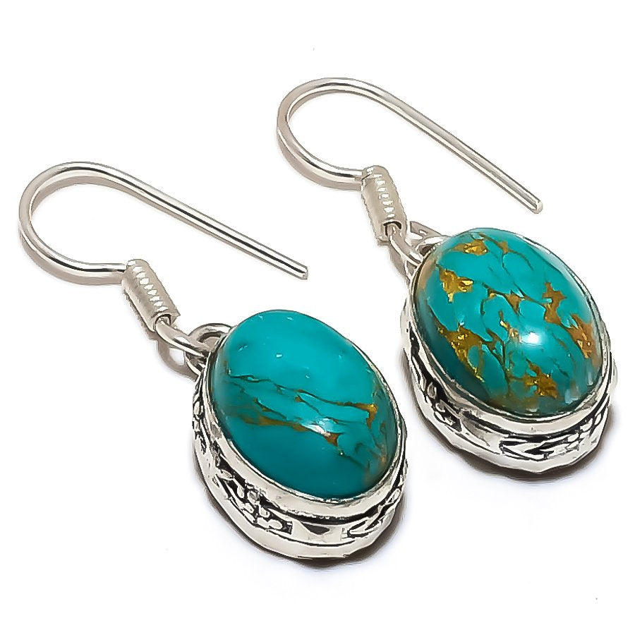 Copper Blue Turquoise Gemstone Jewelry Earring 1.3 Inches RE1407