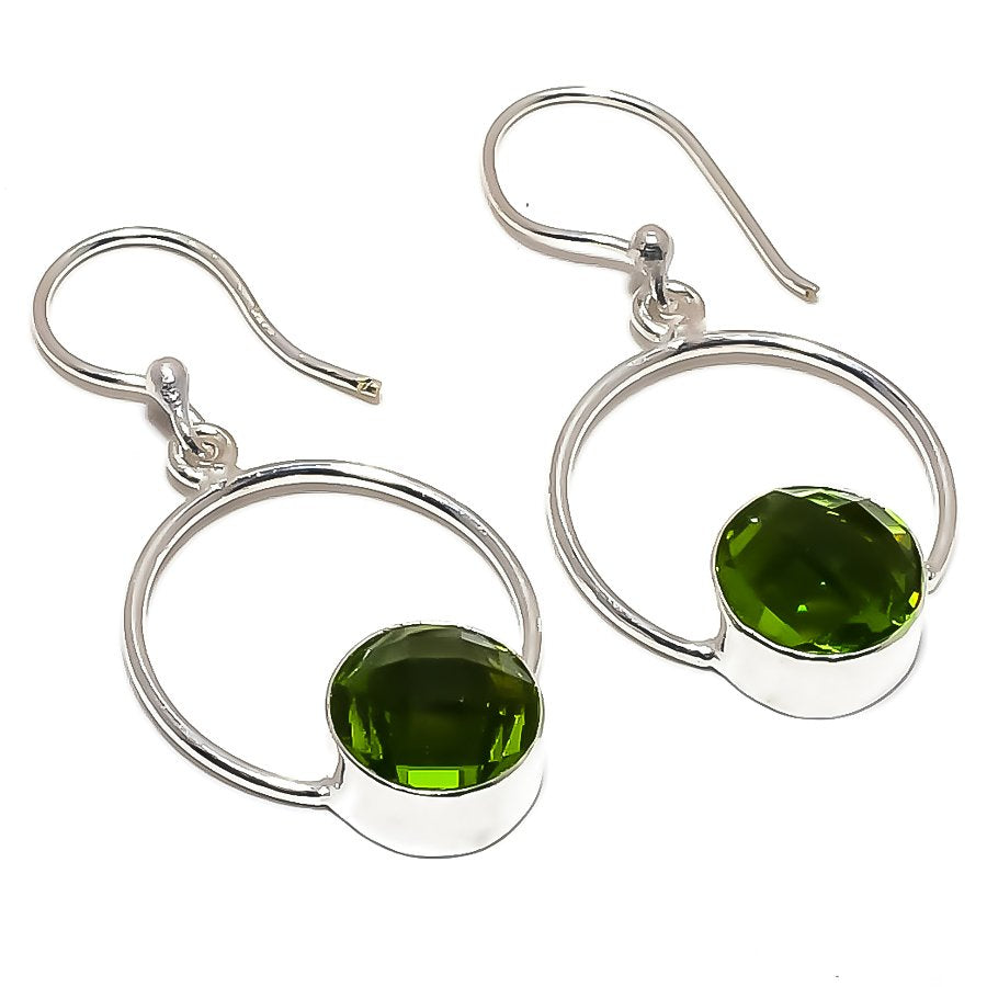 Peridot Gemstone Handmade Ethnic Jewelry Earring 1.7 Inches RE1417