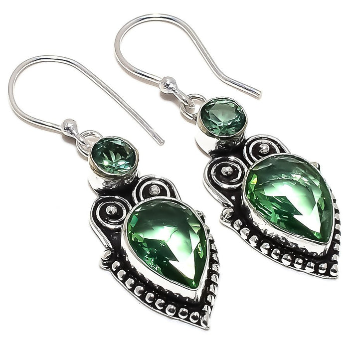 Green Amethyst Gemstone Handmade Jewelry Earring 1.9 Inches RE1470