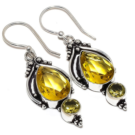 Citrine, Lemon Topaz Gemstone Jewelry Earring 1.9 Inches RE1471