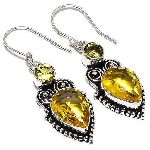 Citrine, Lemon Topaz Gemstone Jewelry Earring 1.9 Inches RE1475
