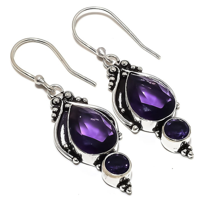 Amethyst Gemstone Handmade Jewelry Earring 1.9 Inches RE1495