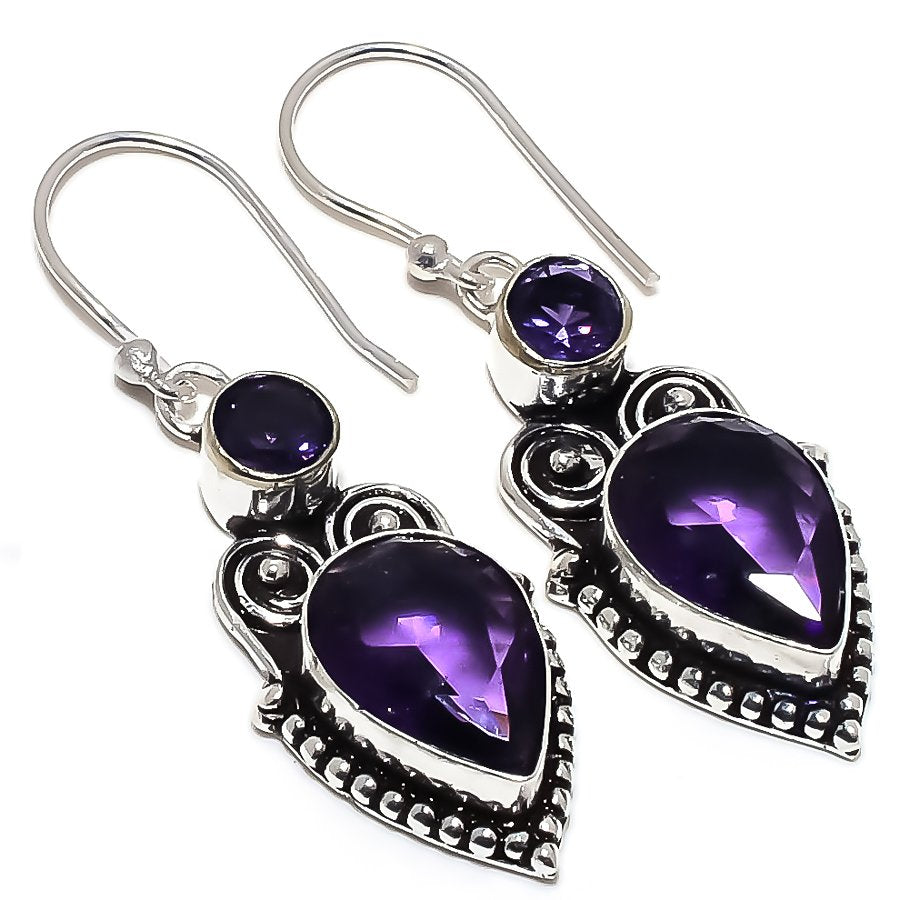 Amethyst Gemstone Handmade Jewelry Earring 1.9 Inches RE1496