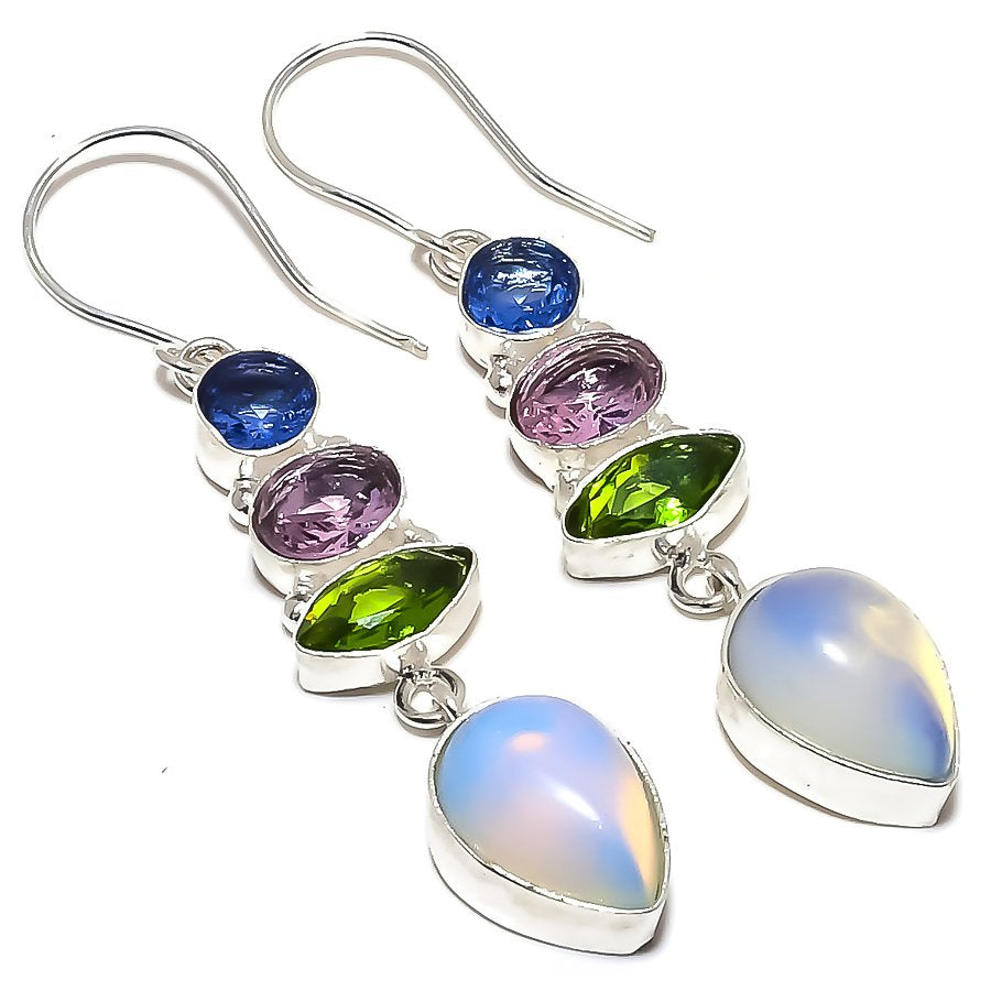 Milky Opal, Multi Gemstone Jewelry Earring 2.4 Inches RE1503