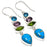 Copper Blue Turquoise, Multi Gem Jewelry Earring 2.4 Inches RE1525