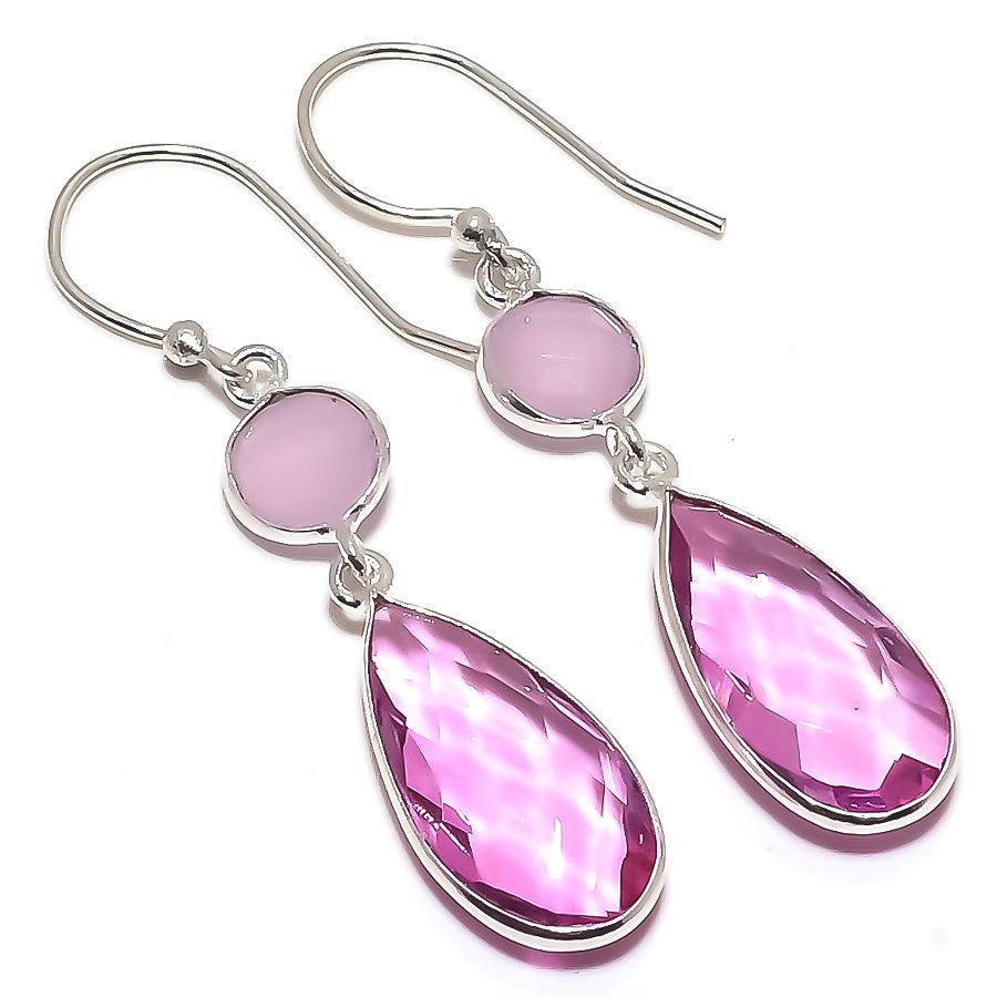 Rose Quartz, Pink Jade Gemstone Jewelry Earring 2.0 Inches RE1533