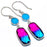 Bi-Color Tourmaline, Chalcedony Jewelry Earring 1.8 Inches RE1554
