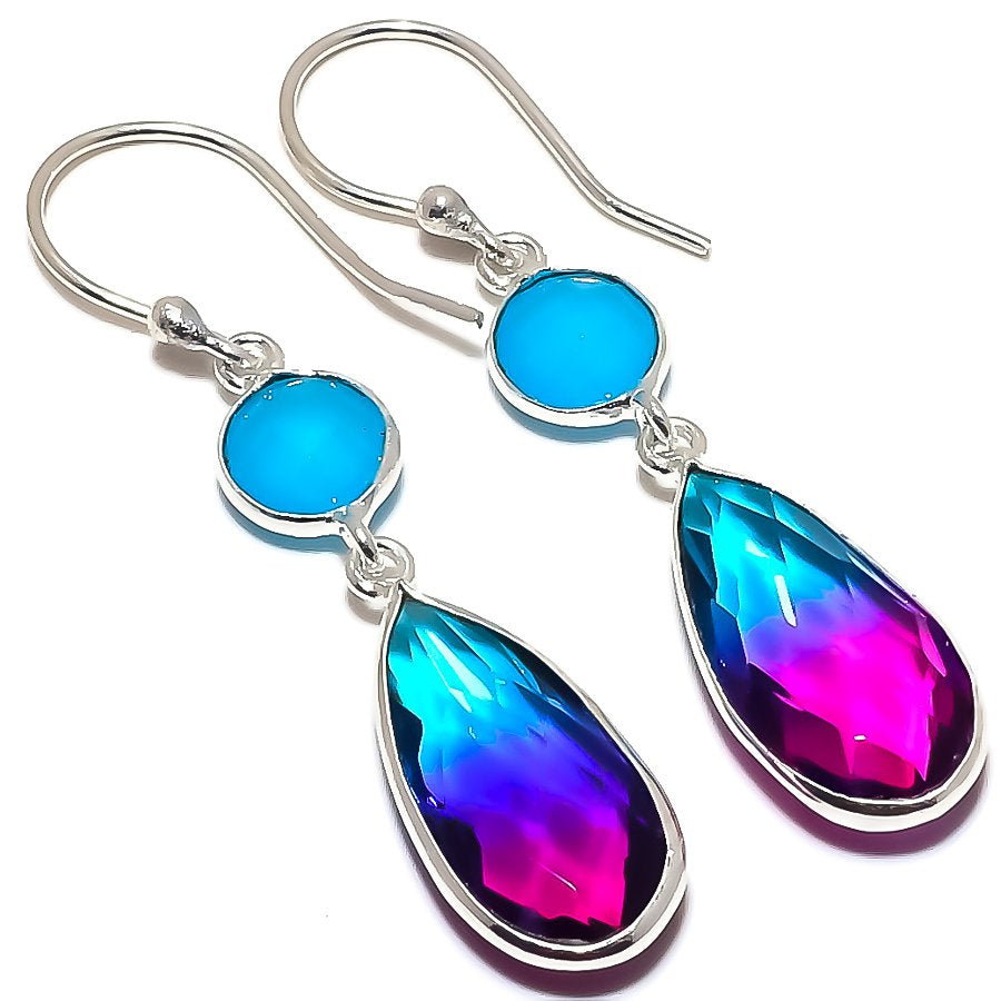 Bi-Color Tourmaline, Chalcedony Jewelry Earring 2.0 Inches RE1558