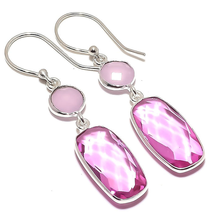 Rose Quartz, Pink Jade Gemstone Jewelry Earring 1.8 Inches RE1575
