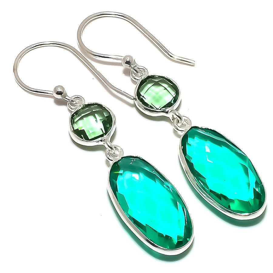Green Tourmaline, Green Amethyst Jewelry Earring 2.0 Inches RE1578