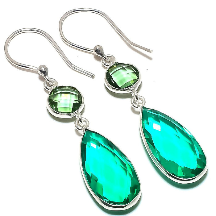 Green Tourmaline, Green Amethyst Jewelry Earring 2.0 Inches RE1579