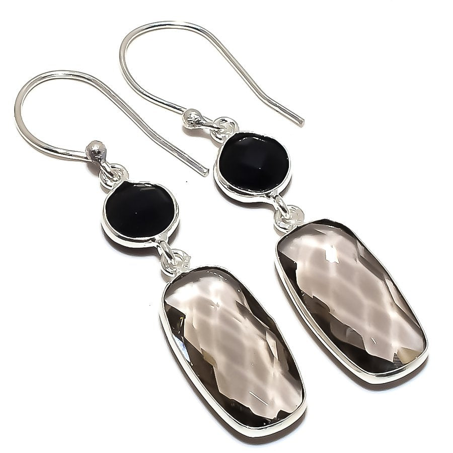 Smokey Topaz, Black Onyx Ethnic Jewelry Earring 1.8 Inches RE1584
