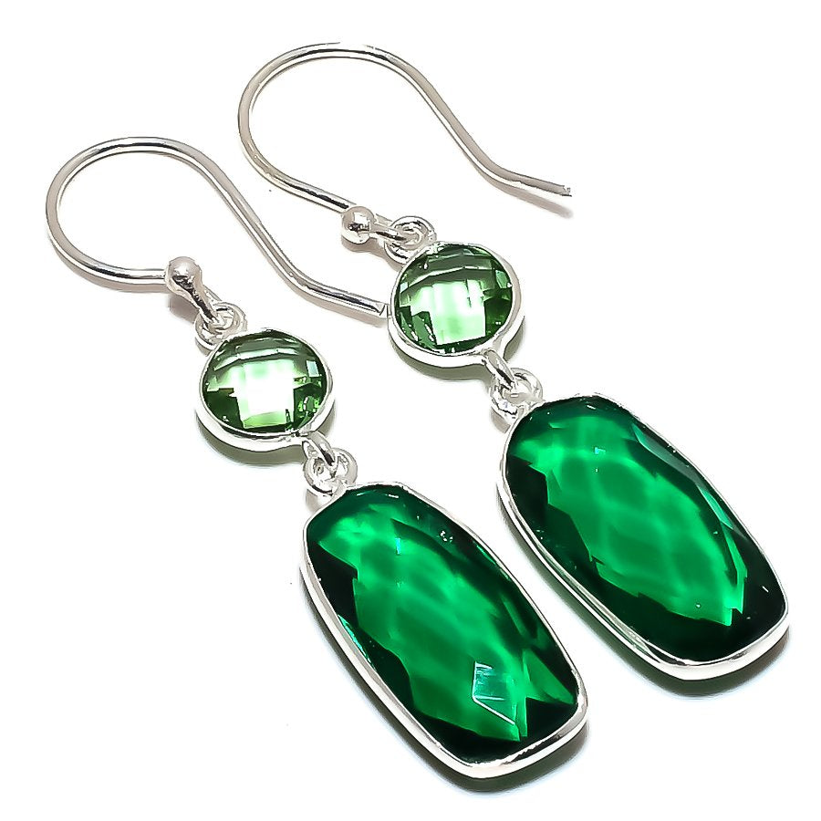 Emerald Quartz, Green Amethyst Jewelry Earring 1.8 Inches RE1586