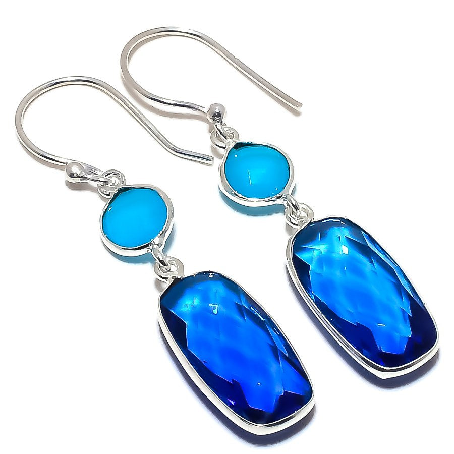 Blue Topaz, Chalcedony Gemstone Jewelry Earring 1.8 Inches RE1589