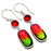 Bi-Color Tourmaline, Garnet Jewelry Earring 1.8 Inches RE1595