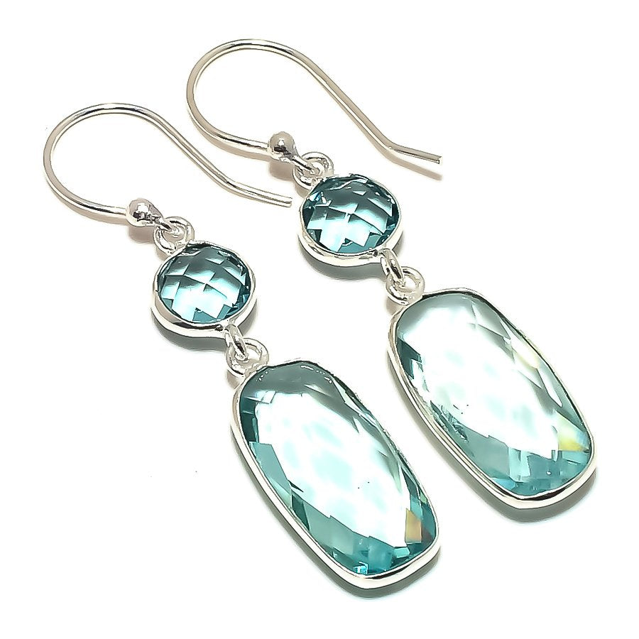 Blue Topaz Gemstone Handmade Jewelry Earring 1.8 Inches RE1598