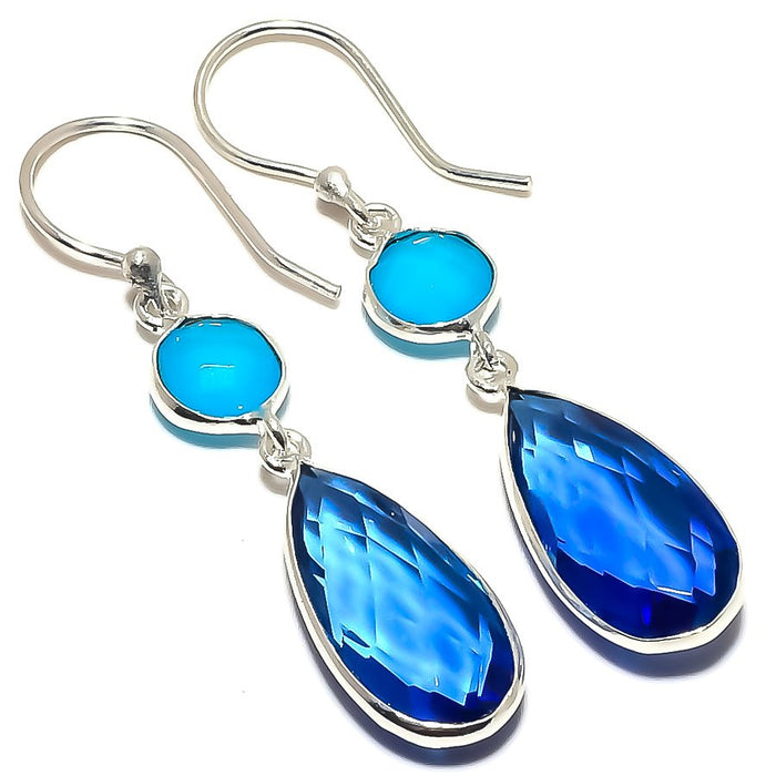 Blue Topaz, Chalcedony Gemstone Jewelry Earring 2.0 Inches RE1609