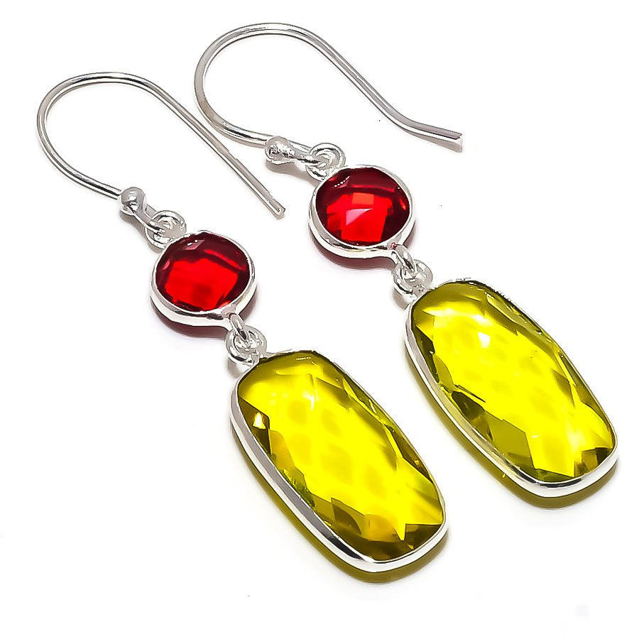Lemon Topaz, Garnet Gemstone Jewelry Earring 1.8 Inches RE1610