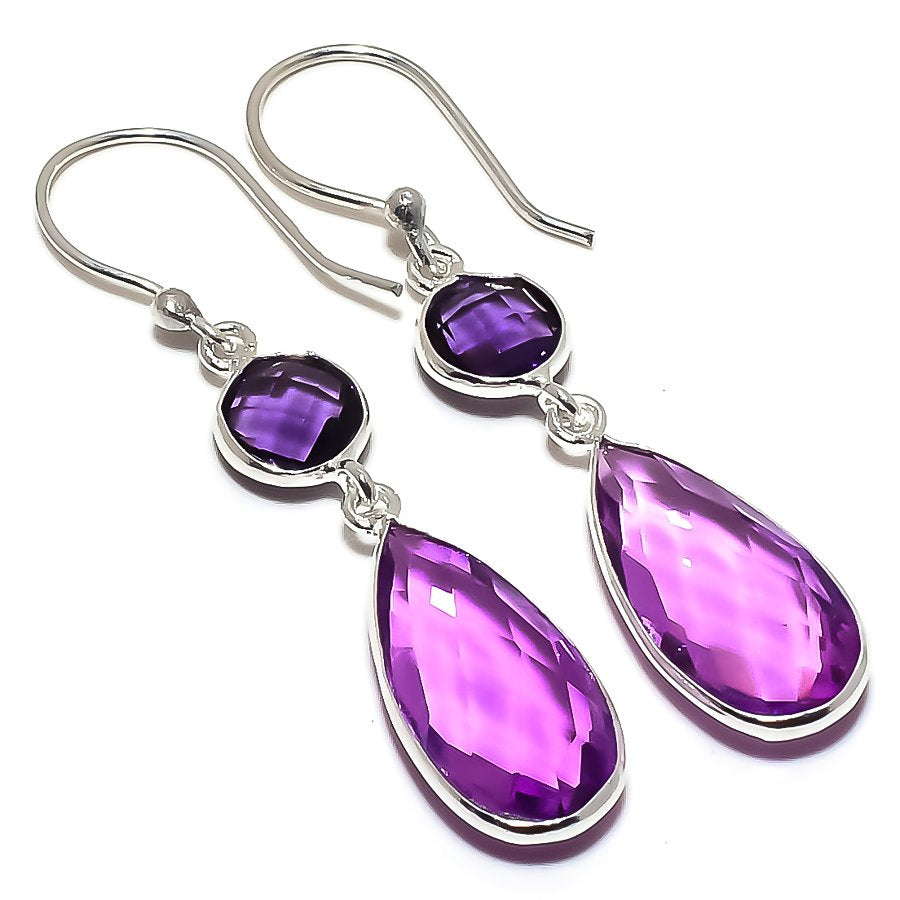 Amethyst Gemstone Handmade Jewelry Earring 2.0 Inches RE1617