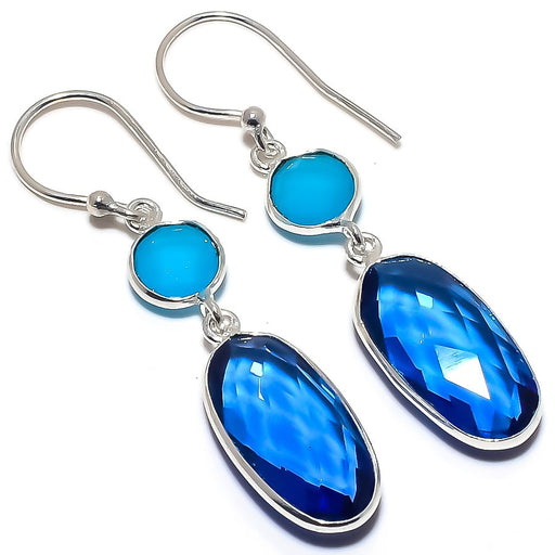 Blue Sapphire, Chalcedony Ethnic Jewelry Earring 2.0 Inches RE1626