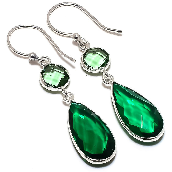Chrome Diopside, Green Amethyst Jewelry Earring 1.8 Inches RE1630