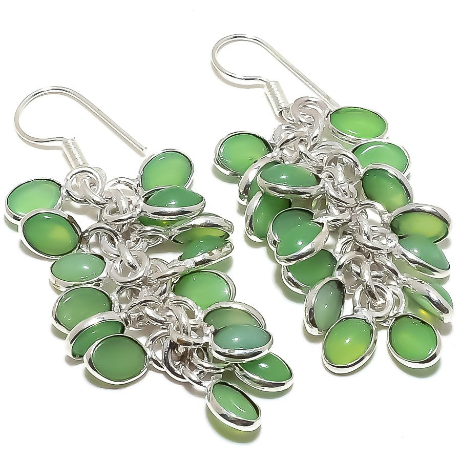 Grapes - Green Chalcedony Ethnic Jewelry Earring 2.4 Inches RE1675