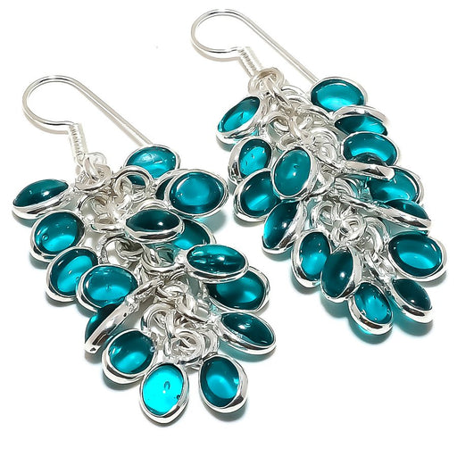 Grapes - Teal Tourmaline Ethnic Jewelry Earring 2.4 Inches RE1699