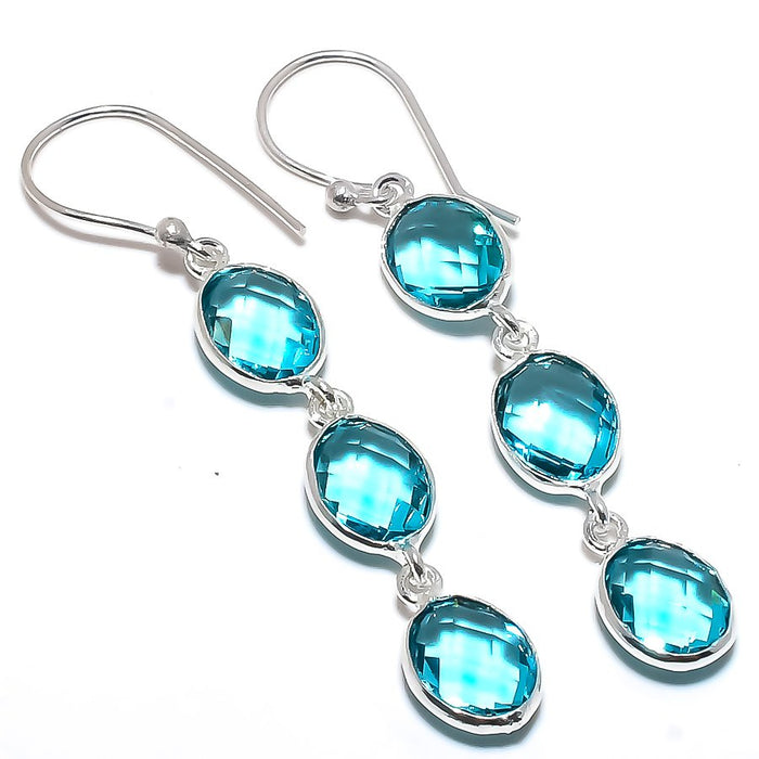 Blue Topaz Gemstone Handmade Jewelry Earring 2.4 Inches RE1708