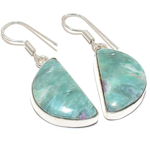 Ruby In Fuchsite Gemstone Ethnic Jewelry Earring 2.0 Inches RE194