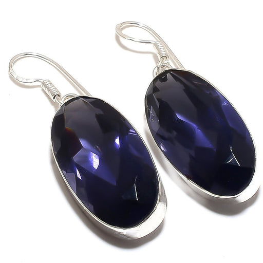 Iolite Gemstone Handmade Ethnic Jewelry Earring 2.0 Inches RE198