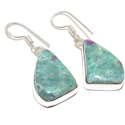 Ruby In Fuchsite Gemstone Ethnic Jewelry Earring 1.7 Inches RE224