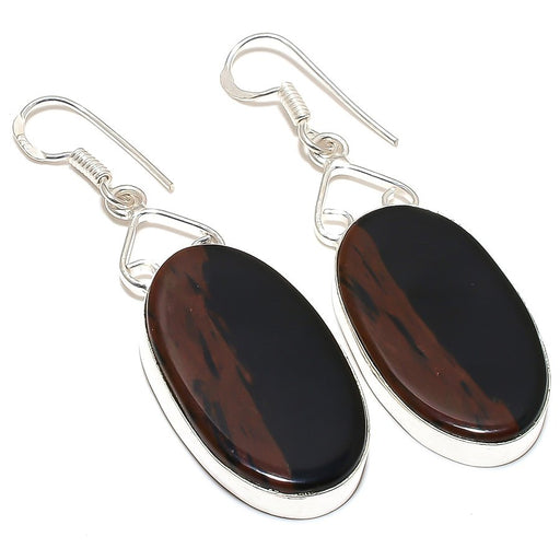 Mahogany Obsidian Gemstone Ethnic Jewelry Earring 2.4 Inches RE242