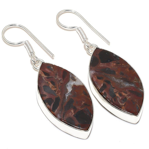 Mahogany Obsidian Gemstone Ethnic Jewelry Earring 2.1 Inches RE257