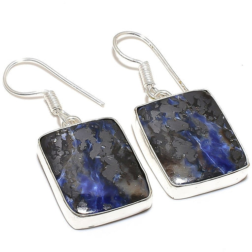 Magnetite Sodalite Gemstone Jewelry Earring 1.6 Inches RE303