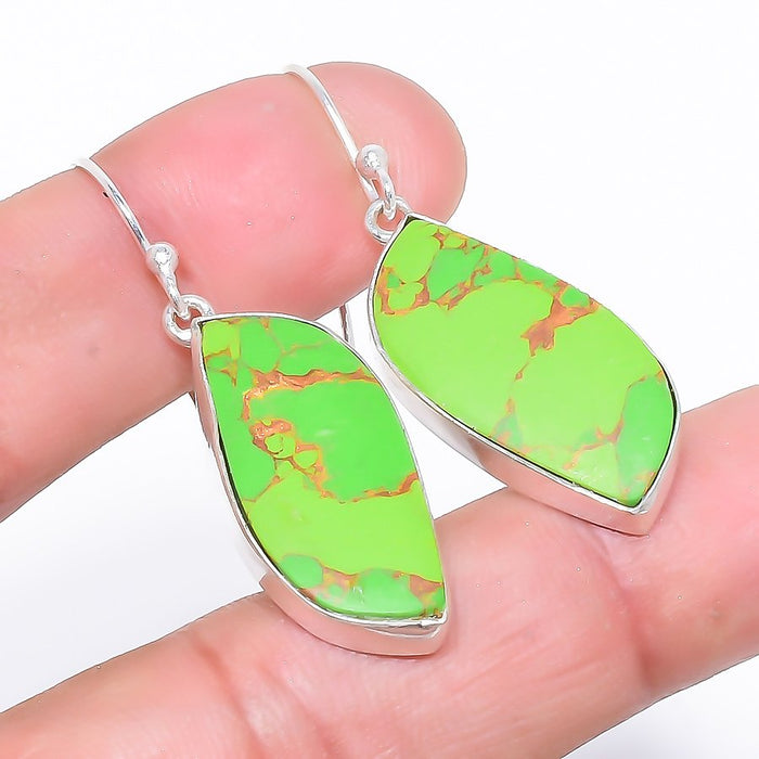 Copper Green Turquoise Gemstone Jewelry Earring 1.8 Inches RE471