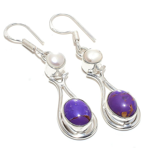 Purple Turquoise, Pearl Gemstone Jewelry Earring 2.1 Inches RE743
