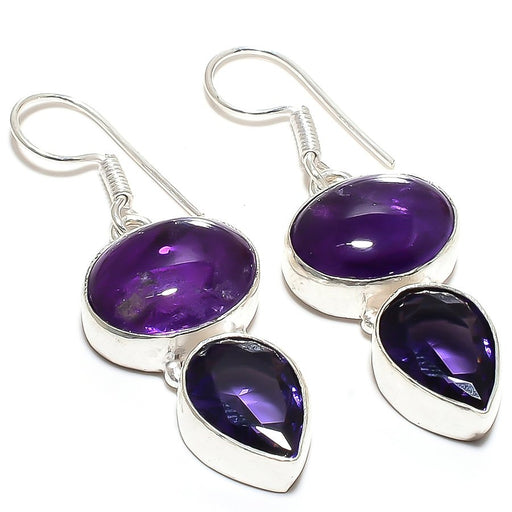 African Amethyst Gemstone Ethnic Jewelry Earring 2.0 Inches RE747