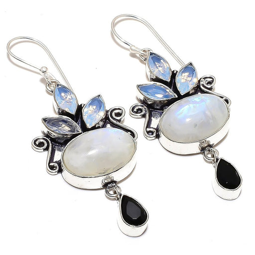 Rainbow Moonstone, Opalite Jewelry Earring 2.8 Inches RE836