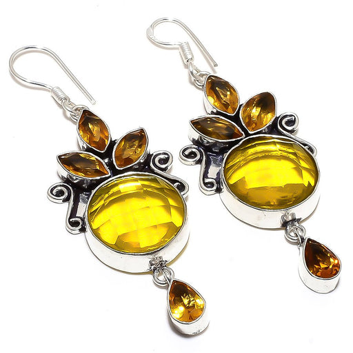 Lemon Topaz, Citrine Gemstone Jewelry Earring 2.8 Inches RE848