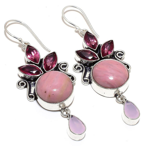 Rhodonite, Rhodolite, Rose Quartz Jewelry Earring 2.6 Inches RE850