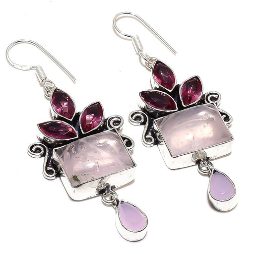 Rose Quartz, Rhodlite Gemstone Jewelry Earring 2.8 Inches RE874
