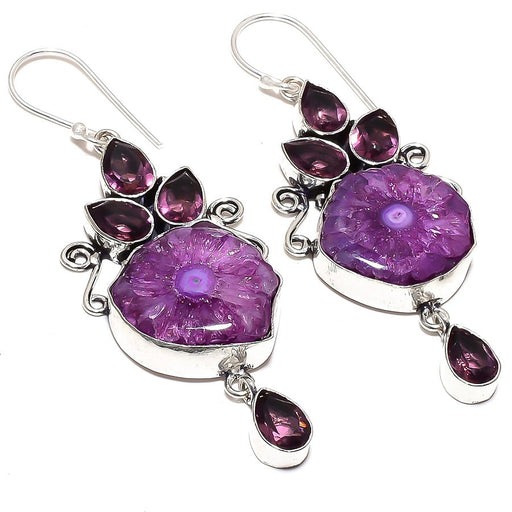 Purple Solar Quartz Druzy Jewelry Earring 3.0 Inches RE875