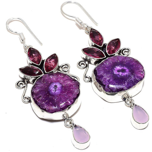 Purple Solar Quartz Druzy Jewelry Earring 2.9 Inches RE876