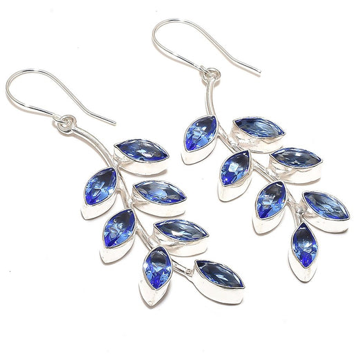 Tanzanite Quartz Gemstone Ethnic Jewelry Earring 2.8 Inches RE878