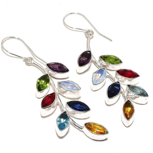 Leaf Art - Multi Gemstone Ethnic Jewelry Earring 2.8 Inches RE879